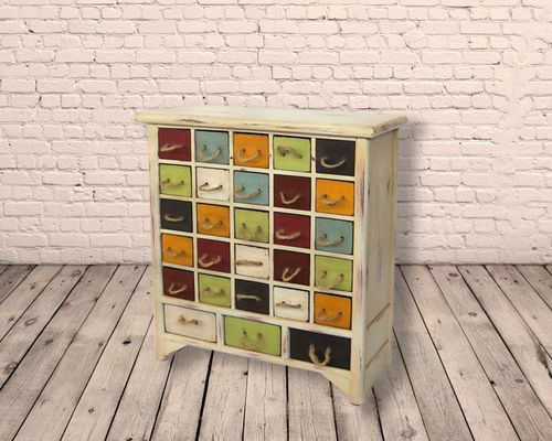 28 Drawer Multiple Coloured Mini Side Cabinet